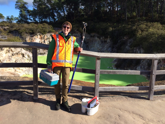 Me + sampling gear at Devil's Bath, a feature in the Waoitapu thermal field.